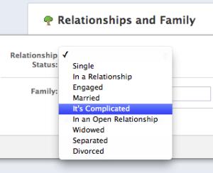 Facebook複雑な関係英語